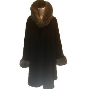 """PARKHURST"" Sleeved Hooded Faux Fur Trim Cape."